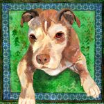 Painting of a pitbull mix called Katie