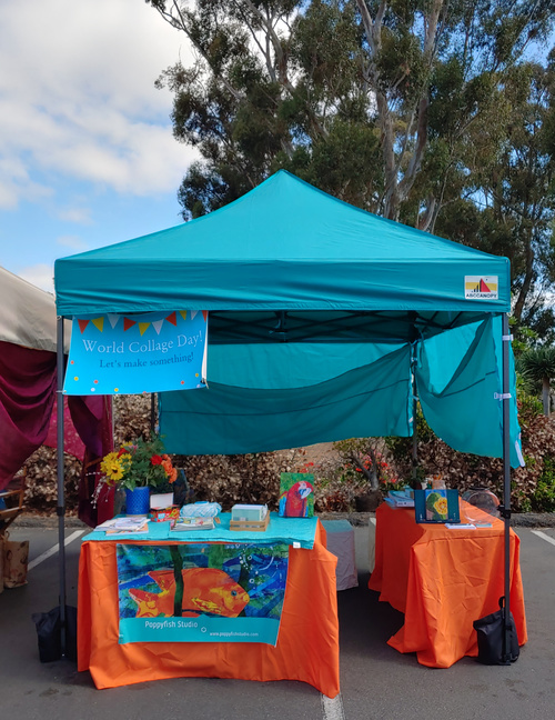 Poppyfish tent at Spanish Village for World Collage Day.
