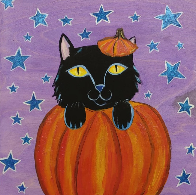 painting of a cat in a pumpkin