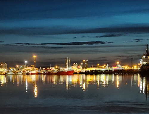 Reykjavik Harbor at night