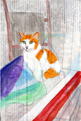 painting of a cat in a store window
