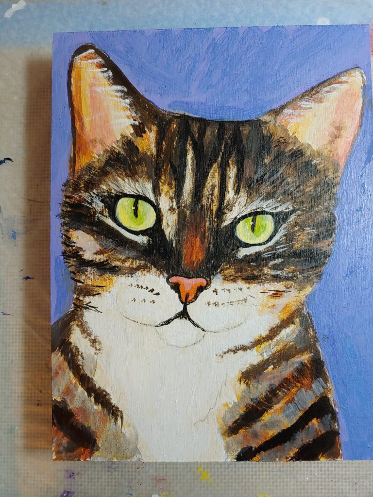 painting of a tabby cat