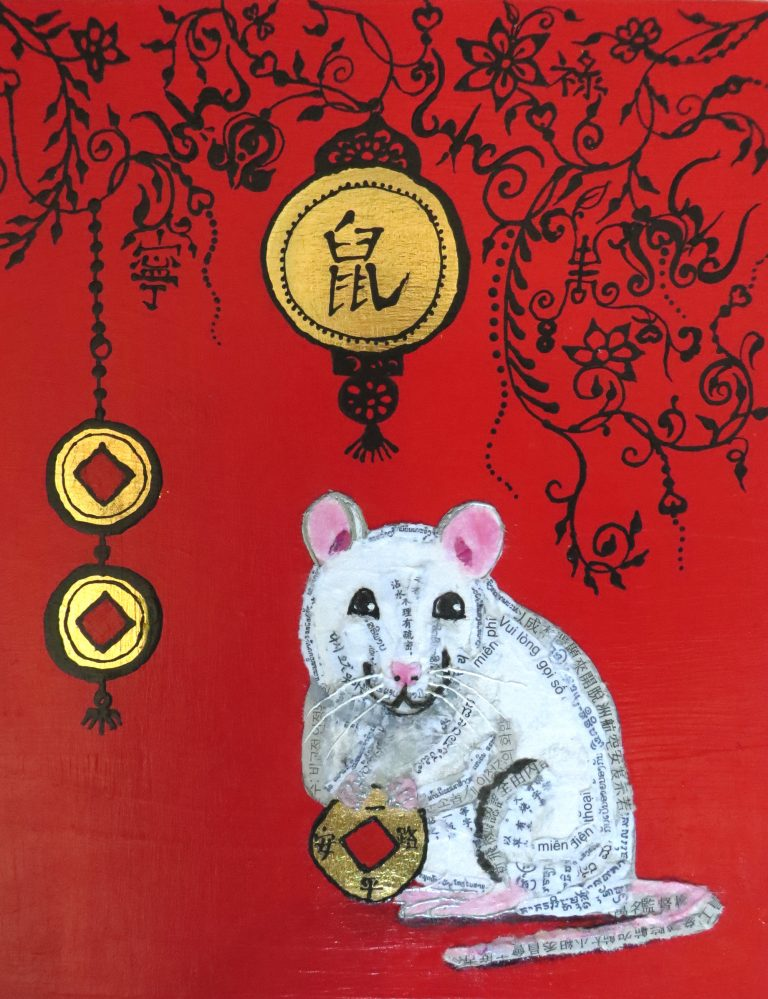 Picture of a white rat for the Year of the Rat