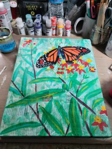 Underpainting of a butterfly